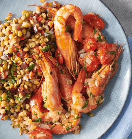 Σαλάτα με φακές & γαρίδες