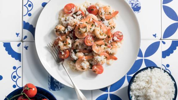 Γαρίδες σκορδάτες με ρύζι