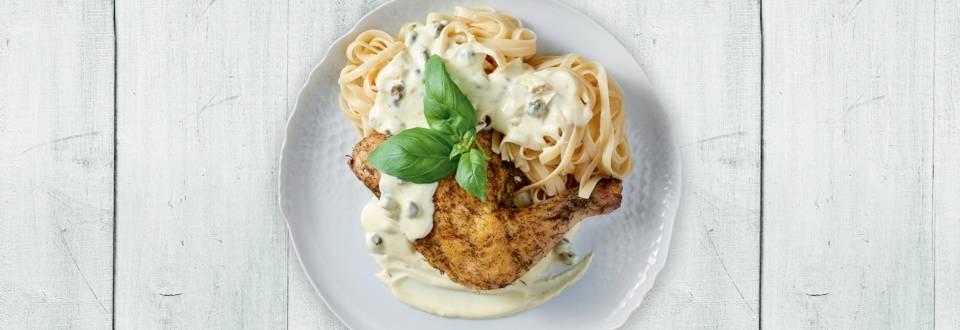 Μπούτι Κοτόπουλου στο φούρνο με λιγκουίνι και σάλτσα βελουτέ